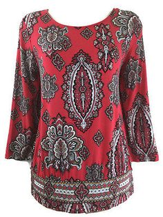 Chicos-1-Top-Paisley-Print-Red-Black-White-Rayon-Stretch-Banded-Hem-Blouse-8-10