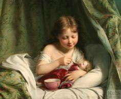 Fritz Zuber Buhler (1822-1896) –  Little girl feeding her dolly