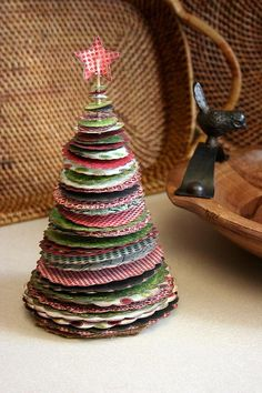 O Christmas Tree. Since I don't quilt or sew, I can use scraps from my kids old clothes as a memory of their favorites. Christmas Fun, Recycled Christmas Cards, Christmas Tabletop, Recycled Christmas Decorations, Fabric Christmas Trees, Homemade Christmas, Christmas Card Crafts, Rustic Christmas, Xmas Cards