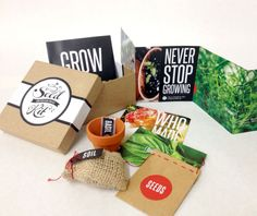 One of my more resent and favorite projects. A self-promo peice and herb growing starter kit. Custom script logo. Hand-made parts and peices. I'm loving the vibrant photo colors and kraft brown contrasting texture.