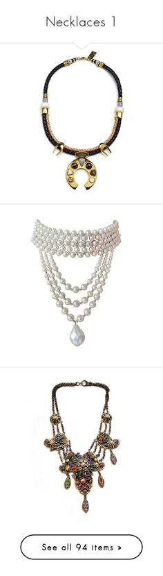 """""""Necklaces 1"""" by glamourgrammy ❤ liked on Polyvore featuring jewelry, necklaces, long pendant, cord necklace, horse pendant, long necklaces, bead pendant, accessories, chokers and pearls"""