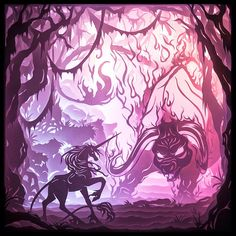 A photographic print of one of Brittany Cox's Last Unicorn-inspired dreamboxes (three-dimensional, internally illuminated cut-paper art) Magical Creatures, Fantasy Creatures, Unicorns, Unicorn Tattoos, The Last Unicorn, Unicorn Art, Anime, Disney Art, Cute Art