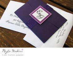 Purple Pocket fold Wedding Invitation For more information and inspiration, visit: www.MaylaStudios.com  #MaylaStudios