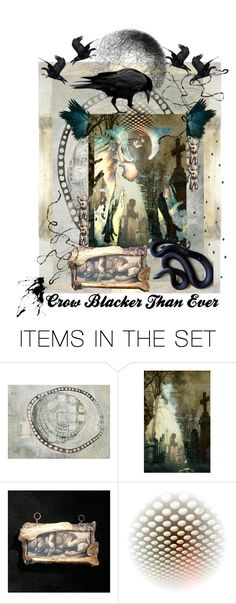 """Crow Blacker Than Ever"" by artsdesireable ❤ liked on Polyvore featuring art, VictoriaEnglishCharm, ValeriaKondor and MoonWillowArtStudio"