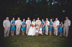 #bride #groom #bridalparty #pose #photography #wedding #orange #turquoise #rustic #county #fall #reception #HughesMarseeWedding13
