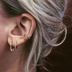MINI HOOPS ($520) ❤ liked on Polyvore featuring jewelry, earrings, white gold jewellery, yellow earrings, 14k hoop earrings, 14 karat gold earrings and 14 karat white gold earrings