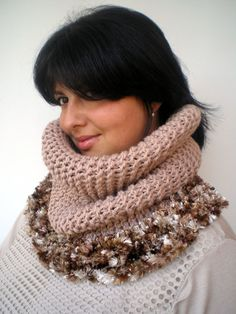 Natural Beige Eskimo Cowl Super Soft Neckwarmer by GiuliaKnit