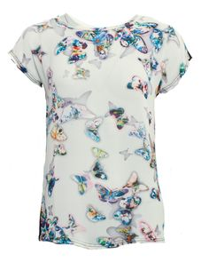 Shop Qed Butterfly Print Top - White in White Online At DV8