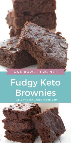 Super fudgy keto brownies for the win! This easy one-bowl recipes results in deliciously fudgy and chewy brownies that no one will guess are low carb and gluten-free! Check out the secret ingredient. Keto Bars, Keto Fudge, Keto Brownies, Chewy Brownies, German Chocolate Brownies, One Bowl Brownies, Dairy Free Brownies, Peanut Butter Brownies, Low Carb Deserts