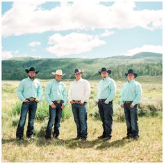 Cody Talia A Mountain Wedding Ceremony Groomsmen in cowboy hats Wranglers cowboy boots and aqua shirts. Flowers by Blossom Sweet. Tracy Hill Photography - March 03 2019 at Country Groomsmen Attire, Country Wedding Groomsmen, Groomsmen Outfits, Country Wedding Dresses, Wedding Country, Cowboy Groomsmen, Country Weddings, Romantic Weddings, Bridesmaids