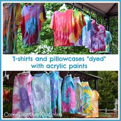 Tie Dye with acrylic paints - perfect project for a party