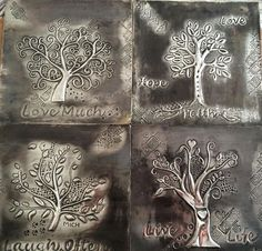 Made at The Pewter Room by Michelle Embossing Stamp, Metal Embossing, Metal Stamping, Pewter Art, Pewter Metal, Tin Can Crafts, Metal Crafts, Aluminum Foil Crafts, Tin Foil Art