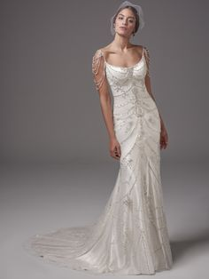 Sottero and Midgley - DOMINIQUE, This vintage-inspired Ava satin sheath features ribbons of pearl and Swarovski crystal embellishments, accented with beaded straps and shoulder treatment. Scoop neck and open back evoke sexy sophistication. Finished with zipper closure.