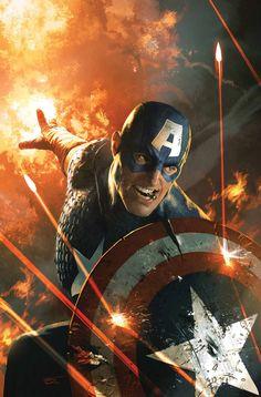 Captain America by Michael Komarck.