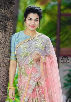 In a pink and grey color sheer saree with floral design and close neck elbow length sleeve blouse design Blouse Neck Models, Saree Blouse Neck Designs, Blouse Patterns, Saree Draping Styles, Saree Styles, Saree Dress, Lace Saree, Pink Saree, Indian Beauty Saree