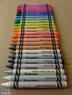 Astronomy crayon colors!