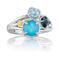 Tacori Island Rains Small Neolite Turquoise, London & Sky Blue Topaz Ring featuring polyvore women's fashion jewelry rings blue turquoise jewelry clear rings blue turquoise ring blue ring turquoise jewellery
