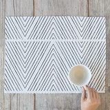 """""""Uneasy Stripes"""" - Hand Drawn, Modern Placemats in White and Black by Jen Florentine."""