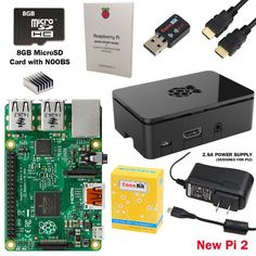 CanaKit Raspberry Pi 2 Complete Starter Kit with WiFi (Latest Version Raspberry Pi 2 + WiFi + Original Preloaded 8GB SD Card + Case + Power Supply + HDMI Cable).