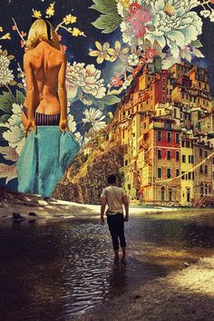 The River Of Dreams.  Mixed Media Collage Art By Ayham Jabr.