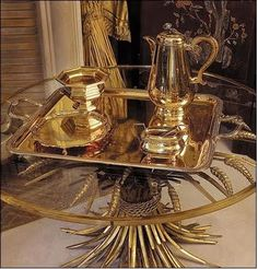 In France, wheat is a symbol of prosperity and wealth. CoCo Chanel used wheat motifs throughout her 31 Rue Cambon apartment, including a gold wheat sheaf table.