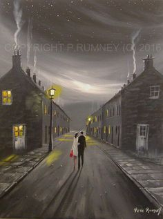 PETE RUMNEY FINE ART BUY ORIGINAL ACRYLIC OIL PAINTING EVENING WALK HOME COULPLE in Art, Direct from the Artist, Paintings | eBay