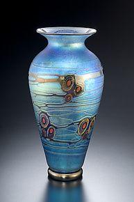 Blue Currents Murrini Vase by David Lindsay (Art Glass Vase)