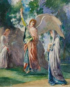 "Angels of the Resurrection,"" John La Farge, 1898, watercolor on paper, 10 1/4 x 8 1/2"", Westmoreland Museum of American Art."