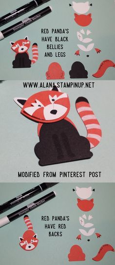 Red Panda Punch Art. Using Foxy Friends Stamp Set and Foxy Builder Punch from Stampin' Up!