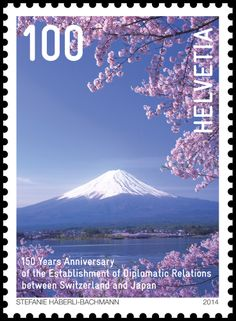 Swiss special stamp: Switzerland and Japan - Mount Fuji and cherry blossoms www.post.ch/philashop