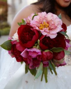 Lush pink and red peonies.