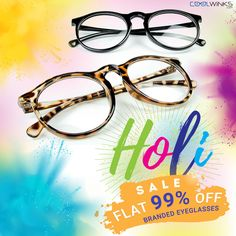 Celebrate HOLI with Coolwinks SALE! FLAT 99% OFF* on Branded Eyeglasses. Eyewear collection starts @ Rs. 3  Hurry! Shop Now.