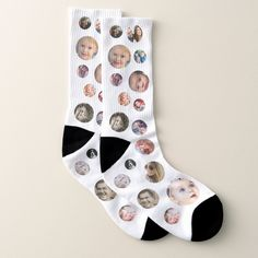 Personalized all-over-printed socks featuring 32 photos of your choice, a fun gift for family and friends! Photo Collage Gift, Photo Collage Template, Personalized Photo Gifts, Customized Gifts, Good Luck Socks, Picture Gifts, Custom Socks, White Elephant Gifts