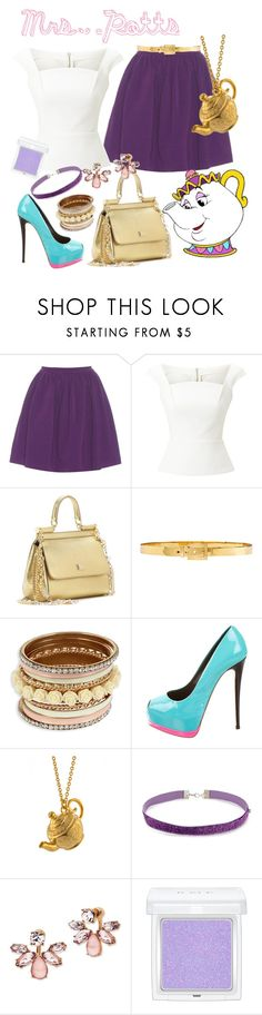 """Mrs. Potts - Disney Bound"" by aschultz22 ❤ liked on Polyvore featuring Miu Miu, Roland Mouret, Dolce&Gabbana, Alexander McQueen, Giuseppe Zanotti, Alex Monroe, Forever 21, Marchesa and RMK"