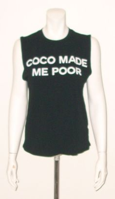 COCO MADE ME POOR BLACK MUSCLE TEE TANK TOP SIZE LARGE NEW WITHOUT TAGS