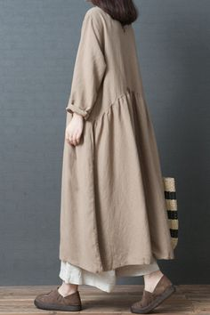 Fashion Loose Linen Maxi Dresses Women Fall Outfits - Women's style: Patterns of sustainability Muslim Fashion, Modest Fashion, Hijab Fashion, Fashion Dresses, 80s Fashion, Fashion 2020, Modest Dresses, Maxi Dresses, Linen Dresses
