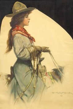Antique w Herbert Dunton Cowgirl Magazine Cover Western Illustration