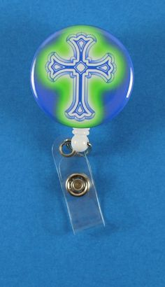 Blue Cross/Green Glow Button Retractable Badge Reel, ID Badge Holder