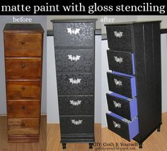 Goth home decor Gothic bedroom Gothic home decor Goth home Goth bedroom Gothic house - GIY Goth It Yourself Black Matte with Gloss Stenciling on Chest of Drawers - Goth Home Decor, Diy Home Decor, Room Decor, Furniture Makeover, Diy Furniture, Black Chest Of Drawers, Chest Drawers, Goth Bedroom, Decor Scandinavian