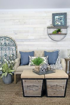 Farmhouse Style Sitting Area With White Wash Wall Boards For A Similar Look Using