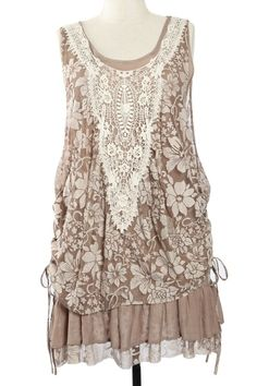 A'reve Brown Cream Lace Crochet Plus Size Dress