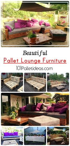 Beautiful Pallet Lounge Furniture | 101 Pallet Ideas - Pallet sofa, coffee table, ottoman and side decorating table...