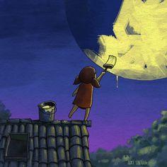 Moon painting / Pinta-Luna Moon Painting, Illustration, Prints, Art, Illustrations, Art Background, Kunst, Performing Arts, Art Education Resources