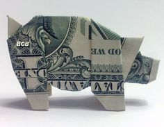Money Origami Pig - Dollar Bill Art