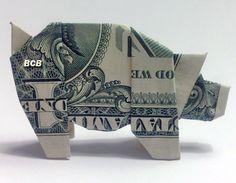 Money Origami Pig - Dollar Bill Art