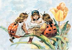 Vintage Ladybug Fairies digital download by polkyanddot on Etsy, $2.50