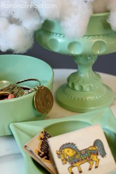 DIY Faux Jadeite from thrift store finds in 30 minutes