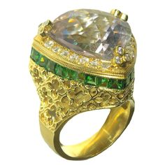 Stambolian Rose de France Peridot Diamond Gold Ring | From a unique collection of vintage cocktail rings at https://www.1stdibs.com/jewelry/rings/cocktail-rings/