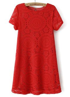 Red Short Sleeve Hollow Lace Loose Dress, US$24.17 (Sale): http://rstyle.me/n/trtymr6gw  More via the Luscious Shop: www.myLusciousLife.com/shop