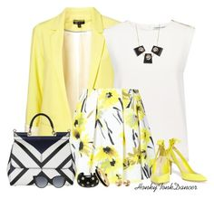 """""""Yellow,Black and White"""" by honkytonkdancer ❤ liked on Polyvore featuring Finders Keepers, Alice + Olivia, Nicholas Kirkwood, Marni, Dolce&Gabbana, Fendi, Chanel, Halcyon Days, Eddie Borgo and skaterSkirts"""